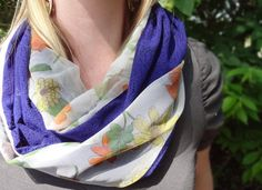 Flower infinity scarf blue/purple vintage lace by PaleDesign, $29.00