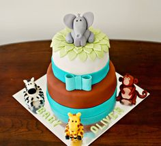 Snacky French: Tiered Jungle Animals Baby Shower Cake