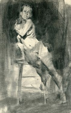 """""""Jenny Leaning"""" by contemporary figurative artist Jennifer McChristian, discreet female nude charcoal on toned paper drawing."""