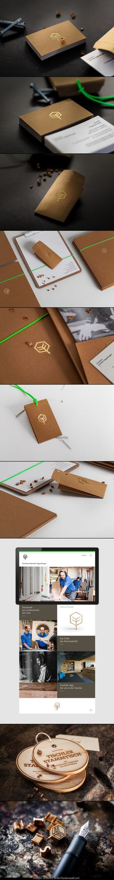 Corporate design branding graphic foil copper bronze metallic business card logo letter label tag wood accent color minimal