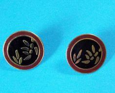Vintage Laurel Burch Post Stud Earrings Leaves by MoomettesCrochet