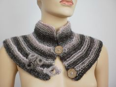 Hand Knitted Capelet in  Beige  Brown  Pale Pink. $57.00, via Etsy.