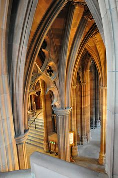 The John Rylands Library, Manchester, England, UK. The library opened to the public in 1900. Since 1972 it has been part of The University of Manchester Library, holding it's special collections (which include a Gutenberg Bible and The Rylands Library Papyrus P52, believed to be the earliest extant New Testament text). The library is open for readers and visitors. The architectural style is primarily neo-Gothic.