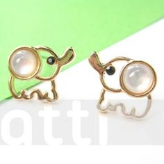 Cute Elephant Animal Stud Earrings in Gold. Starting at $1 on Tophatter.com!