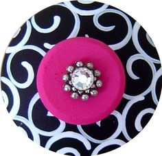 Black and White Swirls Hot Pink Swarovski Crystal Jeweled Hand Painted Wood Drawer Pull Knob