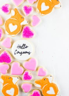 Make your day extra sweet with these adorable corgi cookies complete with a FREE cookie cutting template. Valentines Food, Valentine Cookies, Valentine Special, Valentines For Kids, Valentine Day Gifts, Royal Icing Sugar, Dog Cookies, Gifts For Your Boyfriend, Valentine's Day Diy