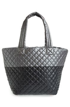 MZ Wallace 'Medium Metro' Quilted Oxford Nylon Tote in Steel/Black