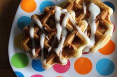 Cinnamon Roll Waffles by tfdiaries: Breakfast in a snap with a can of  cinnamon roll dough. #Waffles #Cinnamon_Roll #Easy
