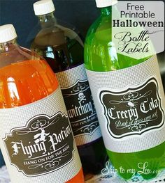 Free printable labels for your Halloween party! Wrap up your 2 Liter pop or soda bottles for a spooky Halloween decor idea.