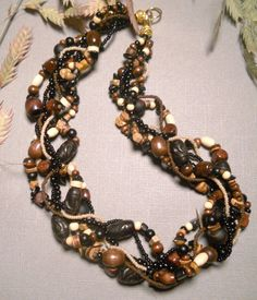 Multi strand necklace wood necklace African by EvenTheStones