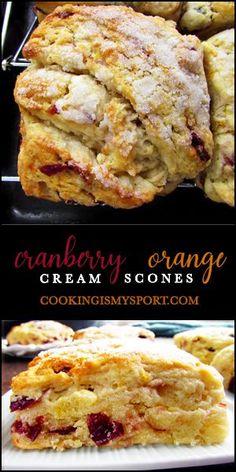 Breakfast Recipes, Dessert Recipes, Desserts, Cranberry Orange Scones, Cream Scones, Cranberry Recipes, Quiche Recipes, Christmas Baking, Recipes