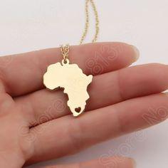 1pcs Africa Necklace Wanderlust Stocking Stuffer Elder Missionary Map Necklaces & Pendants Gold Choker Necklace Women Lead Free