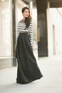 Stripes + Maxi Skirt