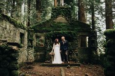 Oregon elopement at an abandoned stone house in the forest