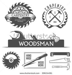 Carpentry and woodwork design elements in vintage style. Retro vector illustration. - stock vector