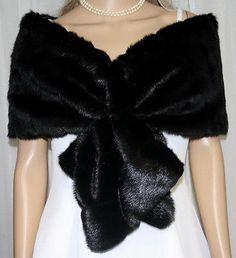 2014 Black Faux Fur Bridal Wedding Shawl Evening Party Wrap Shrug Bolero Coats