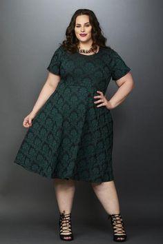 Plus Size Clothing for Women - Waverly Street Skater Dress - Dark Green - Society+ - Society Plus - Buy Online Now! - 1