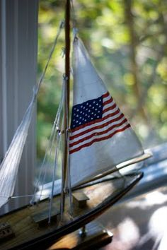 USA national pride patriotic spirit American flag sailboat red white blue