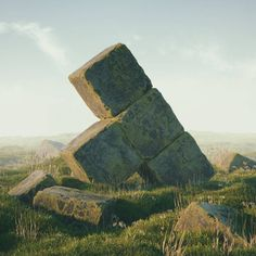 #tetris #temple #cinema #4d #c4d #cinema4d #octane #render #octanerender #photoshop #daily #3d #gfx #graphics #graphic #design #abstract #art #surreal #marsh #landscape #grass #rock #game #geometry #realistic #bricks #mist #rsa_graphics