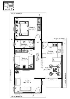 Só Projetos Grátis: Projeto de uma casa com 69 M² e garagem para 2 carros: 124 M²