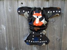 Upcycled Cashmere/ Wool Nappy Cover Diaper Wrap Cloth Diaper Cover One Size Cover Brown Argyle Pattern With Fox Applique/ Cream