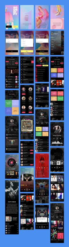 The Soundify Music App UI Kit gives you the chance to express your love for music by offering templates with modern design and vivid colours that can help you build your next big idea with ease. Module Design, App Ui Design, Interface Design, Mobile Application Design, Mobile Web Design, Responsive Web Design, Ui Web, Material Design, Apps