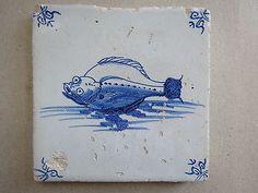 Delft Ware Ceramic Tile Flounder Type Fish 17th Century Dutch   eBay