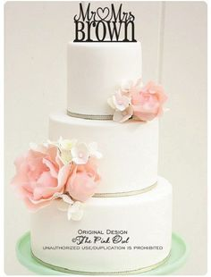 Wedding Cake Topper Monogram Mr and Mrs Heart Design Personalized with YOUR Last Name on Etsy, $32.00