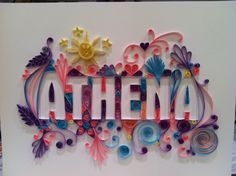 Custom Quilling Name or Special Word UNFRAMED  Frame it yourself option. $125.00, via Etsy.