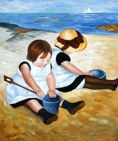 Mary Cassatt - Children Playing on the Beach