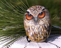 Painted Rocks, Hand Painted, Rock Hand, Stone Painting, Owl, Bird, Animals, Animales, Animaux
