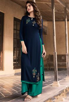 Add the feel of feminine elegance by this navy blue faux georgette party wear kurti. The ethnic embroidered work over a attire adds a sign of elegance statement with your look. (Slight variation in co. Silk Kurti Designs, Kurta Designs Women, Kurti Designs Party Wear, Gharara Designs, Salwar Designs, Patiala, Churidar, Anarkali, Salwar Kameez