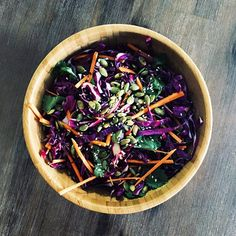 An Asian-style slaw dressed in tamari and sesame dressing, with sweet undertones using delicious organic raw honey!