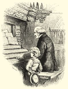 An old organist playing in a church with a young child at his side. Victorian London, North London, Moonlight, Child, Painting, Art, Kid, Art Background, Boys