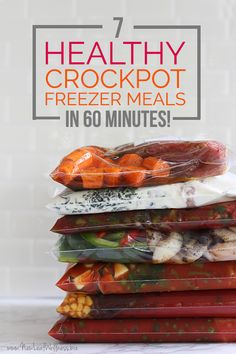 Healthy Crockpot Freezer Meals in 60 Minutes (aka my favorite recipes of all-time 7 Healthy Crockpot Freezer Meals in 60 Minutes. These are my favorite recipes of Healthy Crockpot Freezer Meals in 60 Minutes. These are my favorite recipes of all-time! Budget Freezer Meals, Make Ahead Freezer Meals, Crock Pot Freezer, Freezer Cooking, Easy Meals, Chicken Freezer, Freezer Recipes, Easy Cooking, Easy Recipes