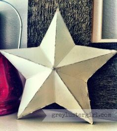 3D Cardboard Star from an old cereal box ... or any cardboard  :)  (Free template)  Decorate / paint for Christmas / Fourth of July  #craft