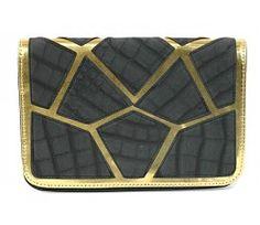 Black and gold clutch with croco print - zwart en gouden clutch met crock print
