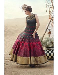 Trendy stylish Indian Floor length red black partywear embroidered Gown | eBay