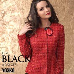 This Christmas, wear red! #red #xmas #holidays #jackets #yokko #wool #fashion #women