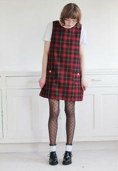 Dorothy Tartan Pinafore in Ruby Red from Mod dolly
