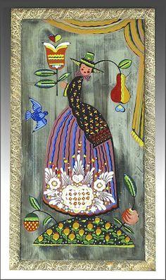 American Folk Art Mirror by Peter Hunt - Americana
