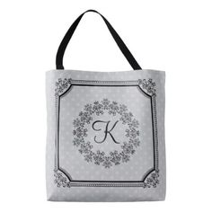 Elegant Gray Black Damask Frame & Wreath Monogram Tote Bag - initial gift idea style unique special diy