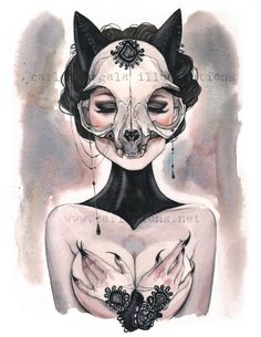 Lady of the Black Cat animal skull watercolor Art print Carla Wyzgala carlations by carlationsart on Etsy https://www.etsy.com/listing/469332466/lady-of-the-black-cat-animal-skull
