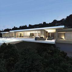 Modern home from Architecture Minimalist Architecture, Architecture Design, Garage Guest House, Casa Patio, Modern Villa Design, Mansion Interior, Luxury House Plans, Luxury Houses, Modern Bungalow
