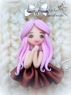 Kawaii cute chibi little girl polymer clay fimo ooak doll brooche. By Katalin Handmade (2014) #kawaii #cute #chibidoll #claybrooches #claycharms #polymerclay #chibi #dragonfly