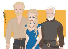Here is a drawing I did of Iain Glen, Emilia Clarke, and Ian McElhinney as Jorah Mormont, the true heir to the Iron Throne Danerys Targaryen, and Barristan Selmy from Game of Thrones. I'm thinking about drawing all the main characters from season three before the season is over.  Howard Shum