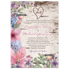 Wildflower and birds watercolor woodsy wedding invitation. Features rustic birch bark background, carved initials heart and pretty spring wildflower flowers in pink, purple, and blue. Good for a spring or summer woodland wedding.