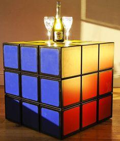 interior design, home decor, furniture, tables, Rubik's cube, toys, nostalgia, nerd, geek