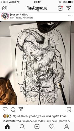Oni Tattoo, Hanya Tattoo, Demon Tattoo, Tattoos, Samurai, Japanese Tattoo Art, Irezumi, Japan Art, Japan Fashion