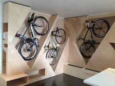 Stylish cubbies for bike! Eric (master architect and owner of some incredible bikes) went through 15 design revisions to get all the angles just so in his apartment. Note that it has bike shoe and bike kit storage spaces as well. Jake tells me I'm obliged to add that it's a work in progress, with wood staining and bench completion to come.
